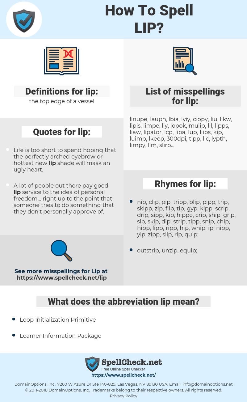 lip, spellcheck lip, how to spell lip, how do you spell lip, correct spelling for lip