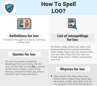 loo, spellcheck loo, how to spell loo, how do you spell loo, correct spelling for loo