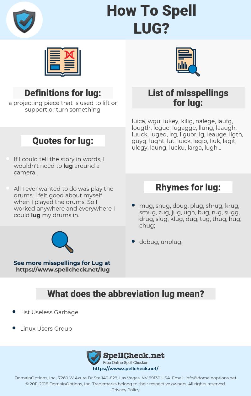 lug, spellcheck lug, how to spell lug, how do you spell lug, correct spelling for lug