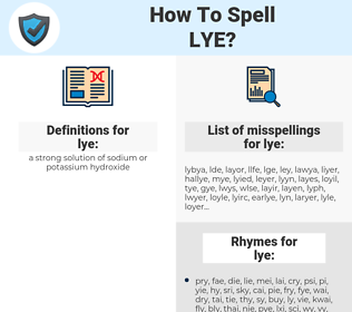 lye, spellcheck lye, how to spell lye, how do you spell lye, correct spelling for lye