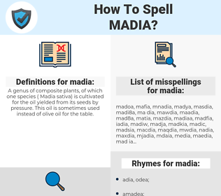 madia, spellcheck madia, how to spell madia, how do you spell madia, correct spelling for madia