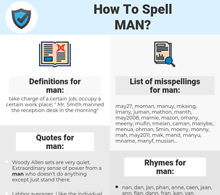 man, spellcheck man, how to spell man, how do you spell man, correct spelling for man