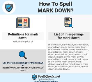 mark down, spellcheck mark down, how to spell mark down, how do you spell mark down, correct spelling for mark down