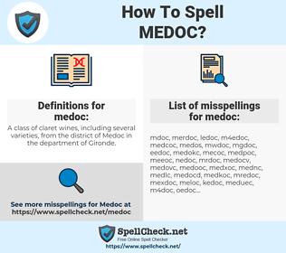 medoc, spellcheck medoc, how to spell medoc, how do you spell medoc, correct spelling for medoc