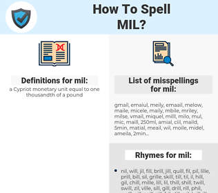 mil, spellcheck mil, how to spell mil, how do you spell mil, correct spelling for mil
