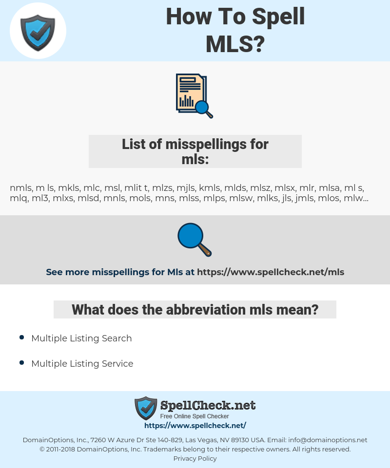 mls, spellcheck mls, how to spell mls, how do you spell mls, correct spelling for mls