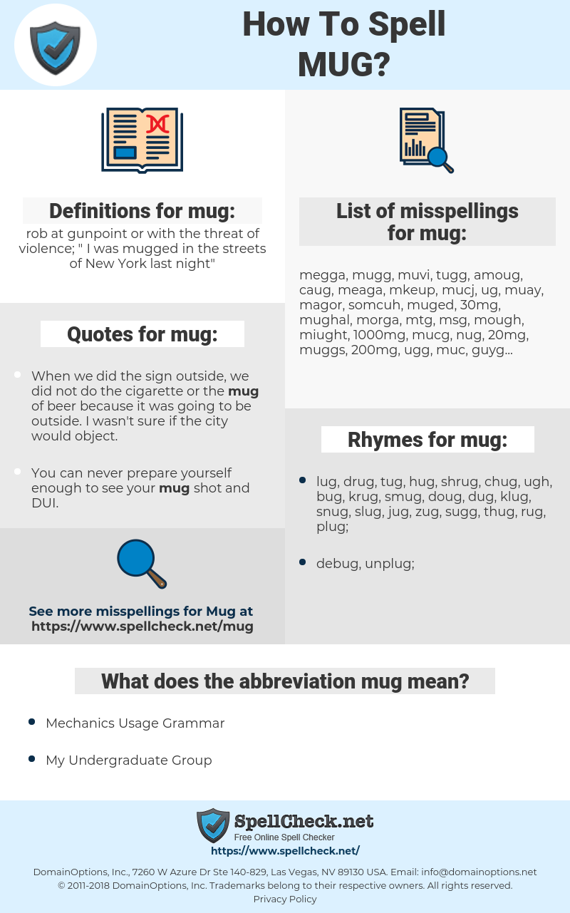 mug, spellcheck mug, how to spell mug, how do you spell mug, correct spelling for mug