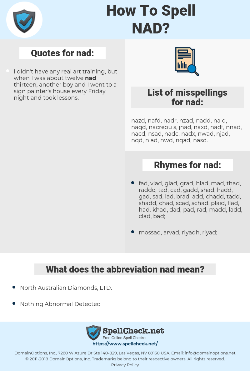 nad, spellcheck nad, how to spell nad, how do you spell nad, correct spelling for nad