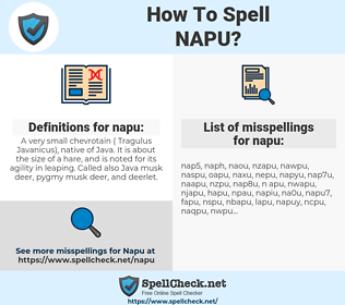 napu, spellcheck napu, how to spell napu, how do you spell napu, correct spelling for napu