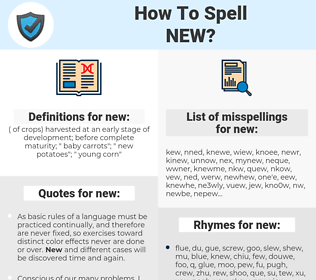 new, spellcheck new, how to spell new, how do you spell new, correct spelling for new