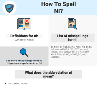 ni, spellcheck ni, how to spell ni, how do you spell ni, correct spelling for ni