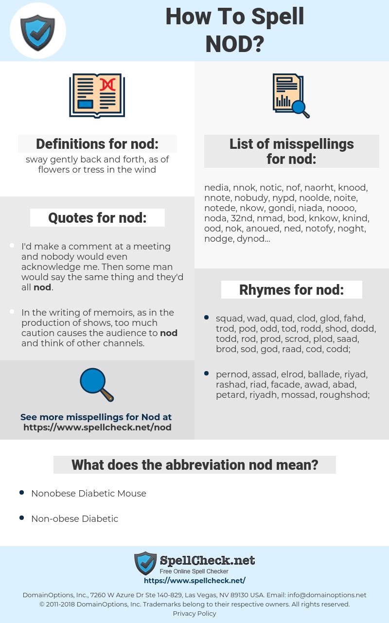 nod, spellcheck nod, how to spell nod, how do you spell nod, correct spelling for nod