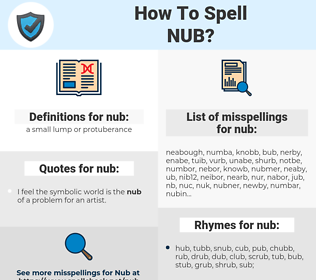 nub, spellcheck nub, how to spell nub, how do you spell nub, correct spelling for nub