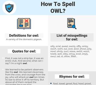 owl, spellcheck owl, how to spell owl, how do you spell owl, correct spelling for owl