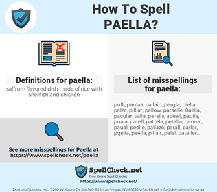 paella, spellcheck paella, how to spell paella, how do you spell paella, correct spelling for paella