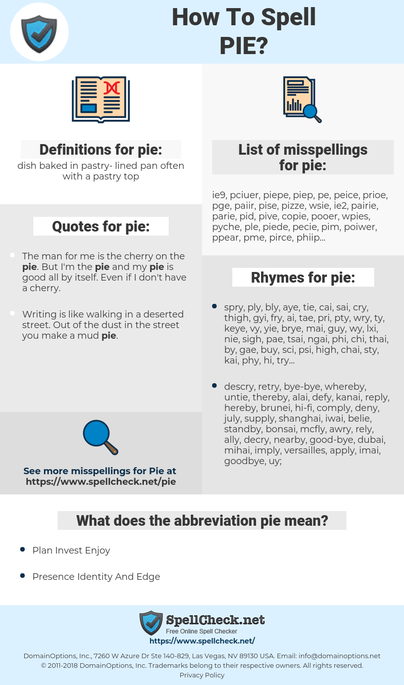 pie, spellcheck pie, how to spell pie, how do you spell pie, correct spelling for pie