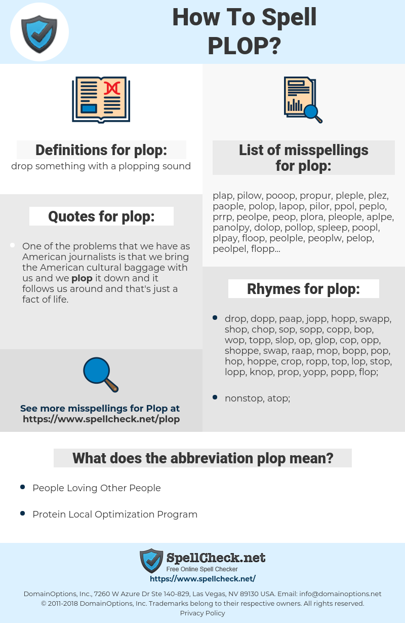 plop, spellcheck plop, how to spell plop, how do you spell plop, correct spelling for plop