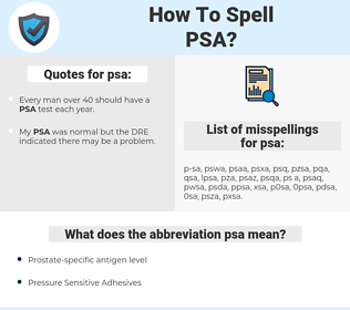 psa, spellcheck psa, how to spell psa, how do you spell psa, correct spelling for psa