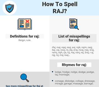 raj, spellcheck raj, how to spell raj, how do you spell raj, correct spelling for raj