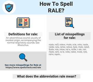 rale, spellcheck rale, how to spell rale, how do you spell rale, correct spelling for rale