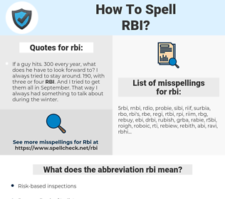 rbi, spellcheck rbi, how to spell rbi, how do you spell rbi, correct spelling for rbi