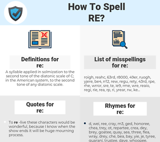 re, spellcheck re, how to spell re, how do you spell re, correct spelling for re
