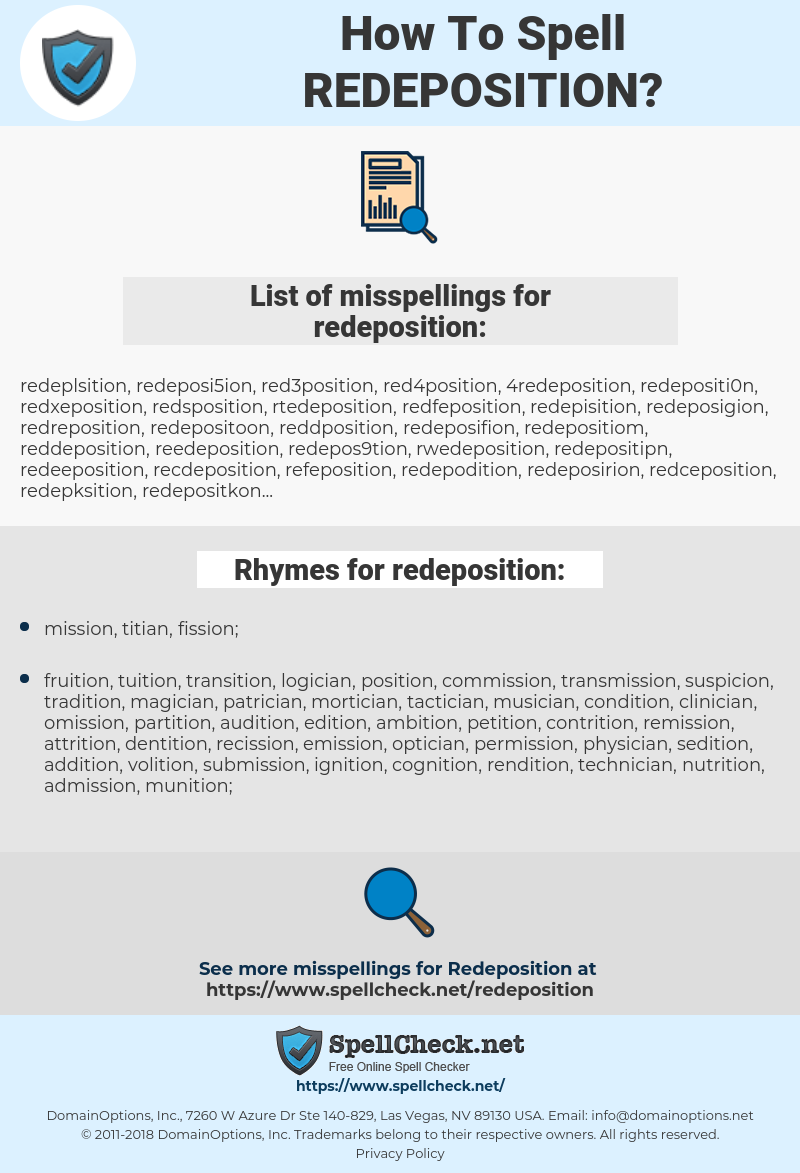 redeposition, spellcheck redeposition, how to spell redeposition, how do you spell redeposition, correct spelling for redeposition