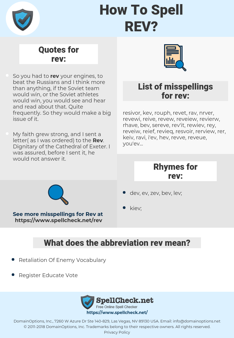 rev, spellcheck rev, how to spell rev, how do you spell rev, correct spelling for rev