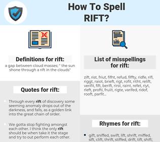 rift, spellcheck rift, how to spell rift, how do you spell rift, correct spelling for rift