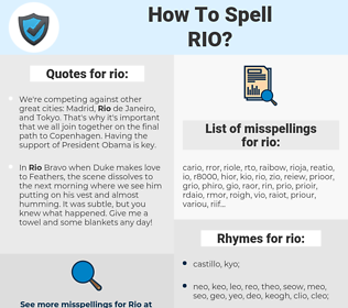 rio, spellcheck rio, how to spell rio, how do you spell rio, correct spelling for rio