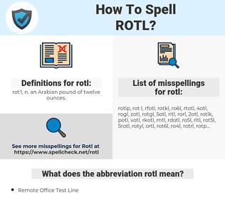 rotl, spellcheck rotl, how to spell rotl, how do you spell rotl, correct spelling for rotl