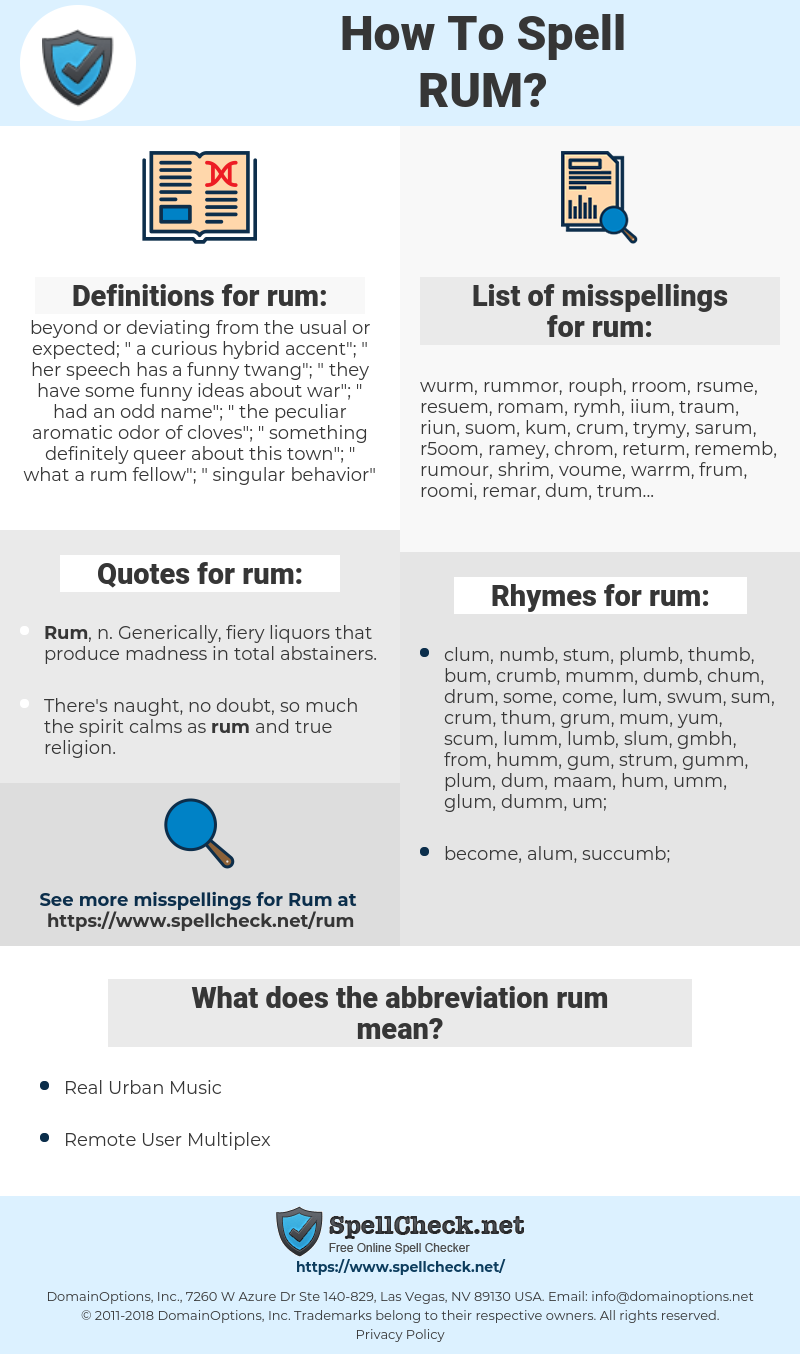 rum, spellcheck rum, how to spell rum, how do you spell rum, correct spelling for rum