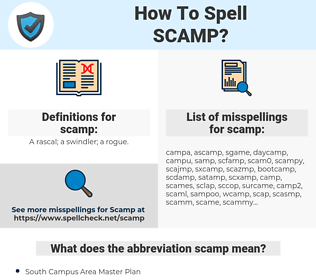 scamp, spellcheck scamp, how to spell scamp, how do you spell scamp, correct spelling for scamp