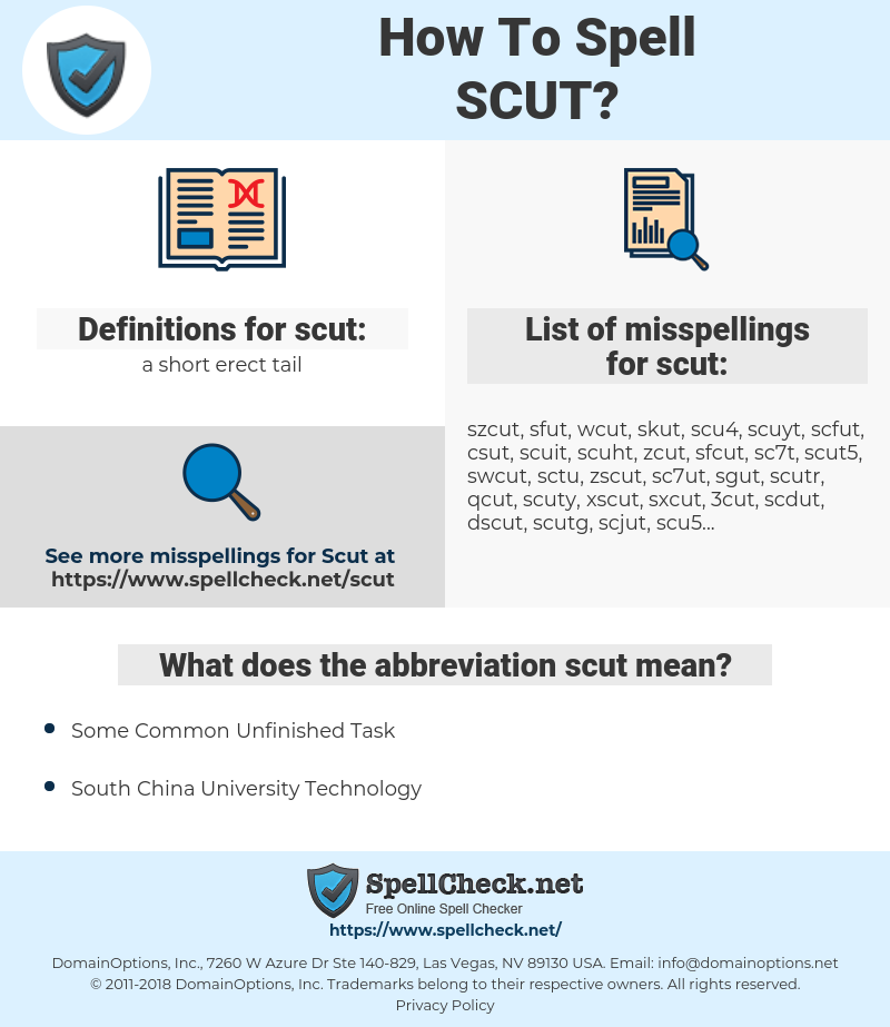 scut, spellcheck scut, how to spell scut, how do you spell scut, correct spelling for scut