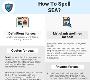 sea, spellcheck sea, how to spell sea, how do you spell sea, correct spelling for sea