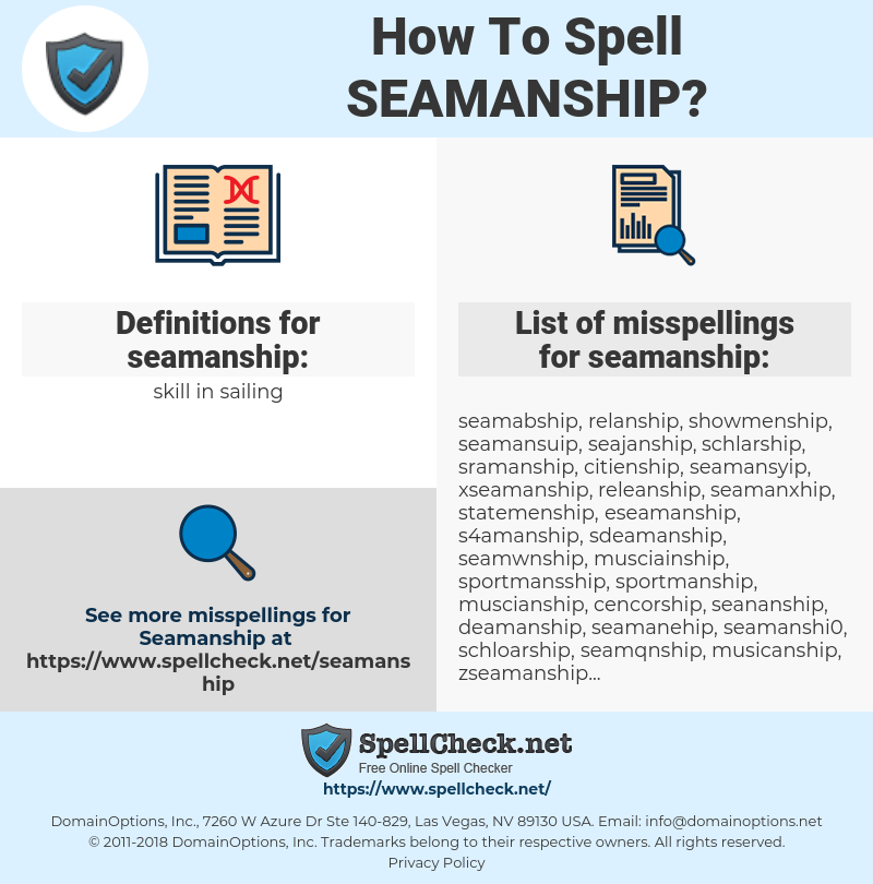 seamanship, spellcheck seamanship, how to spell seamanship, how do you spell seamanship, correct spelling for seamanship