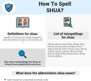 shua, spellcheck shua, how to spell shua, how do you spell shua, correct spelling for shua