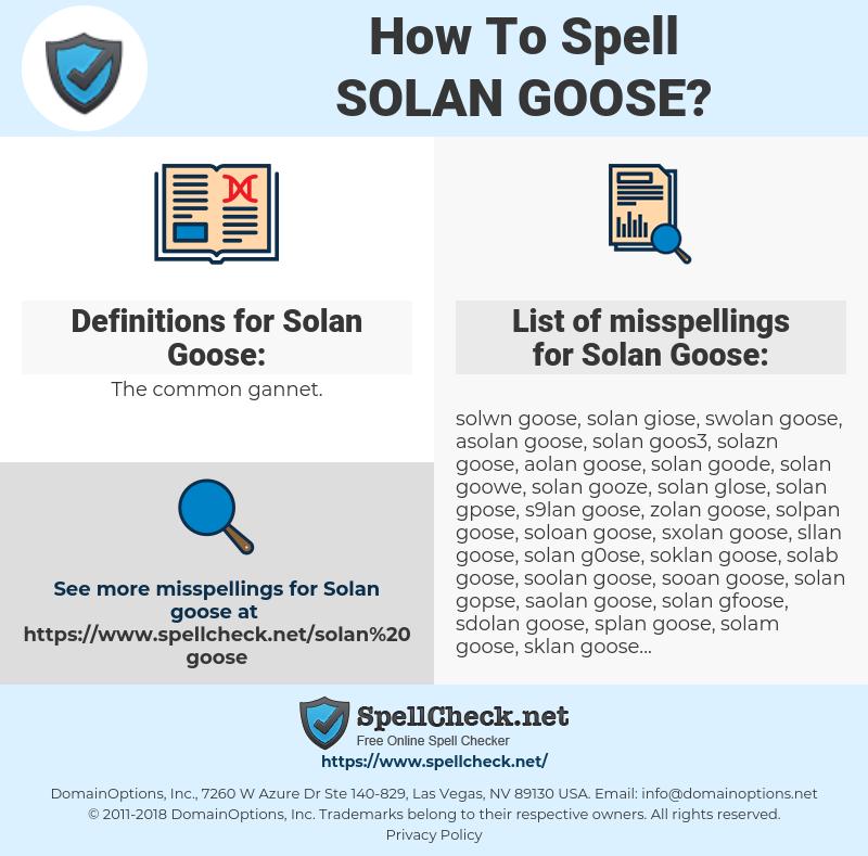 Solan Goose, spellcheck Solan Goose, how to spell Solan Goose, how do you spell Solan Goose, correct spelling for Solan Goose