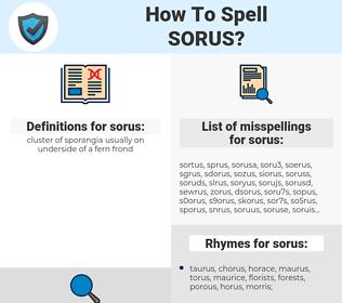 sorus, spellcheck sorus, how to spell sorus, how do you spell sorus, correct spelling for sorus