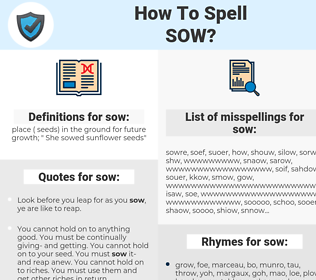 sow, spellcheck sow, how to spell sow, how do you spell sow, correct spelling for sow