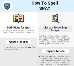 spa, spellcheck spa, how to spell spa, how do you spell spa, correct spelling for spa