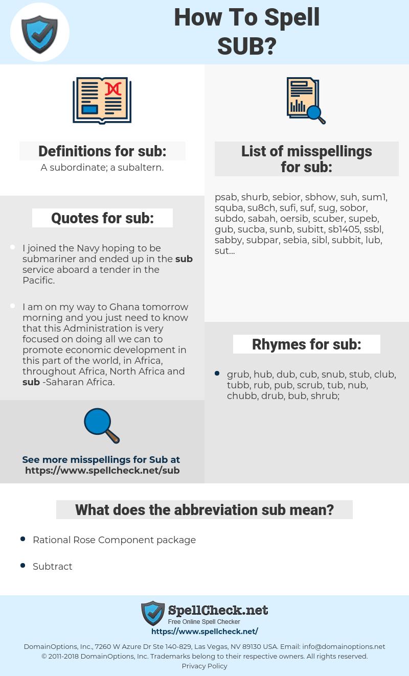 sub, spellcheck sub, how to spell sub, how do you spell sub, correct spelling for sub