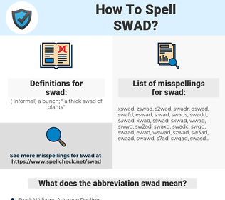 swad, spellcheck swad, how to spell swad, how do you spell swad, correct spelling for swad
