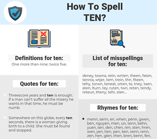 ten, spellcheck ten, how to spell ten, how do you spell ten, correct spelling for ten