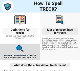 treck, spellcheck treck, how to spell treck, how do you spell treck, correct spelling for treck