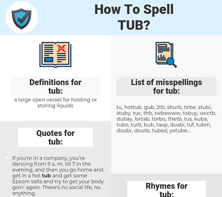 tub, spellcheck tub, how to spell tub, how do you spell tub, correct spelling for tub