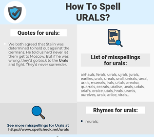 urals, spellcheck urals, how to spell urals, how do you spell urals, correct spelling for urals
