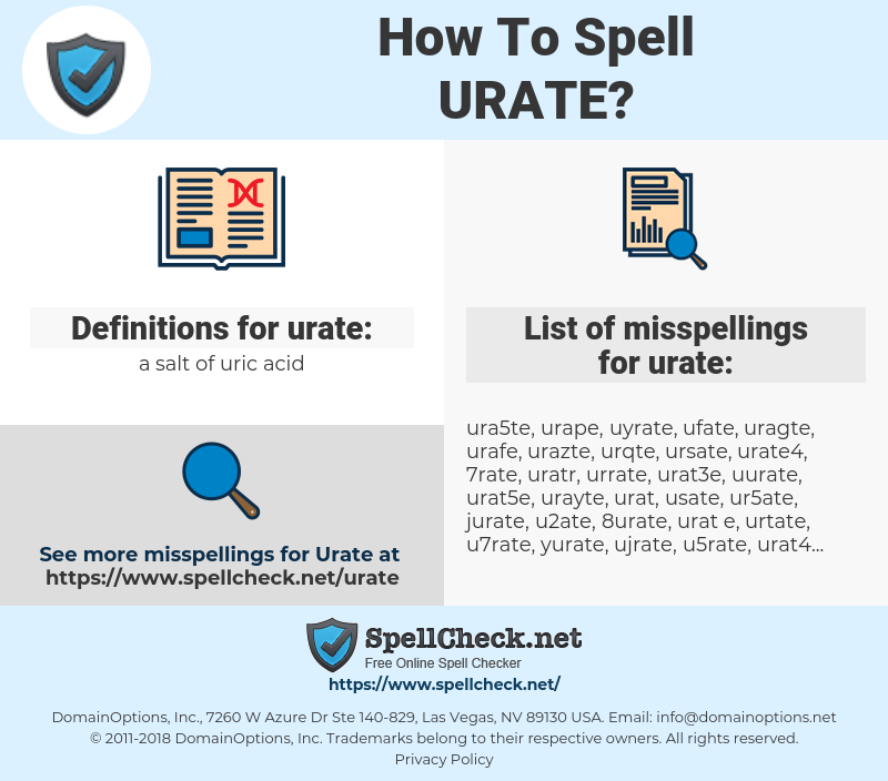 urate, spellcheck urate, how to spell urate, how do you spell urate, correct spelling for urate