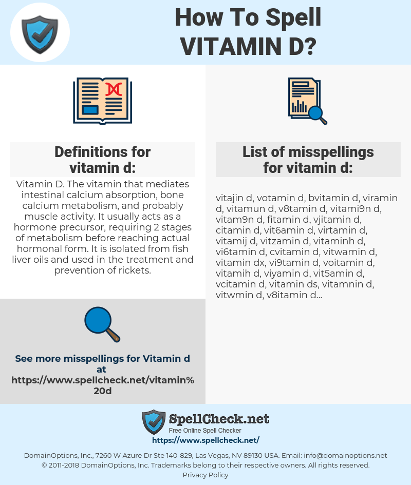 How To Spell Vitamin d (And How To Misspell It Too) | Spellcheck net