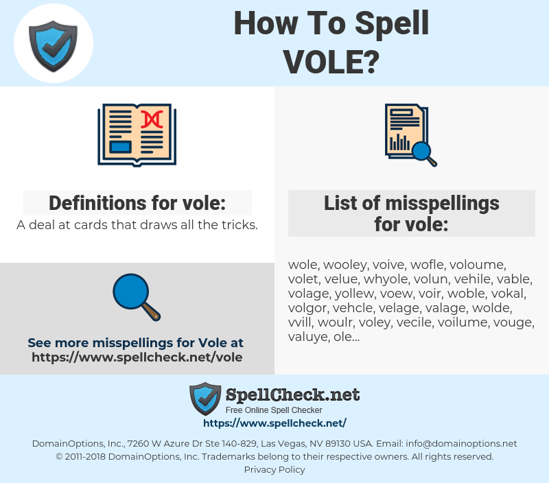 vole, spellcheck vole, how to spell vole, how do you spell vole, correct spelling for vole